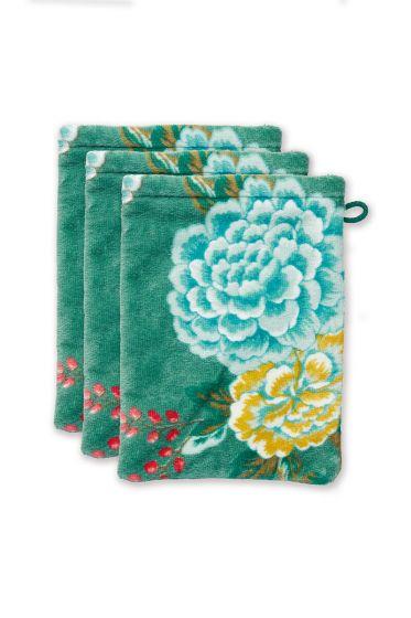 washandje-set/3-bloemen-print-groen-16x22-cm-good-evening-katoen