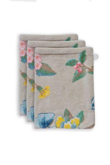 washandje-set/3-bloemen-print-khaki-16x22-cm-good-evening-katoen
