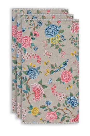 Towel-set/3-floral-print-khaki-55x100-pip-studio-good-evening-cotton