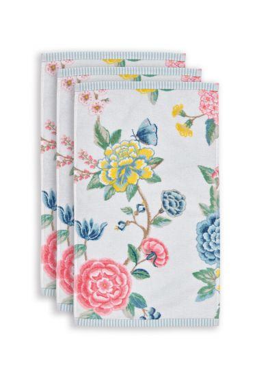 Guest-towel-set/3-floral-print-white-30x50-cm-pip-studio-good-evening-cotton