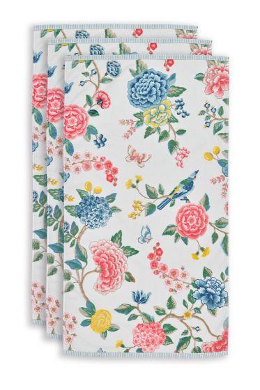 Handtuch-set/3-blumen-drucken-weiss-55x100-good-evening-baumwolle