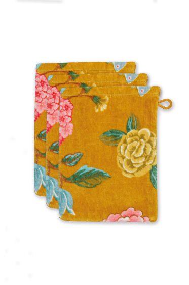 washandje-set/3-bloemen-print-geel-16x22-cm-good-evening-katoen