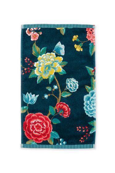 Gastendoek-donker-blauw-bloemen-30x50-good-evening-pip-studio-katoen-terry-velour
