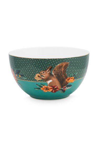 kom-winter-wonderland-van-porselein-met-een-vogel-en-een-eekhoorn-in-groen-18-cm