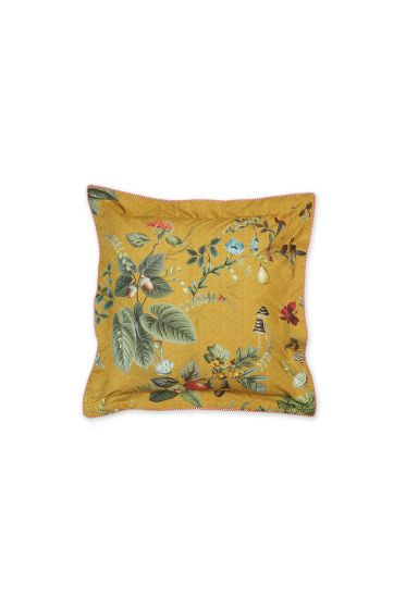 kussen-geel-bloemen-vierkant-sierkussen-fall-in-leave-pip-studio-45x45-katoen