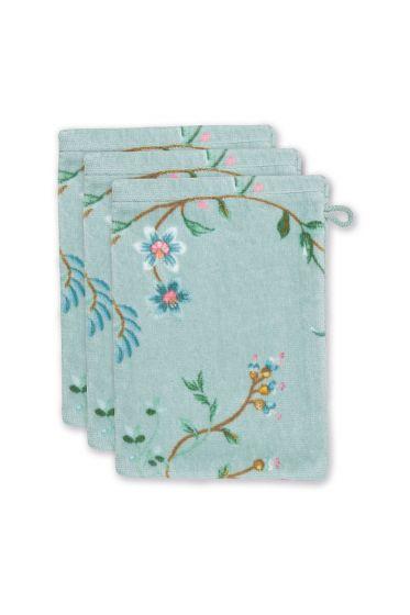 washandje-set/3-bloemen-print-blauw-16x22-cm-les-fleurs-katoen