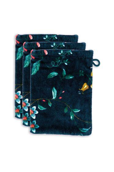 Washcloth-floral-set/3-print-dark-blue-16x22-cm-pip-studio-les-fleurs-cotton