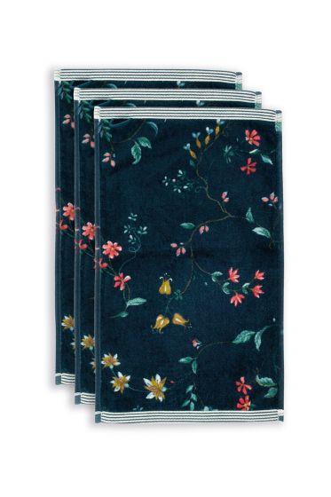 Gäste-tuche-set/3-blumen-drucken-dunkel-blau-30x50-cm-pip-studio-les-fleurs-baumwolle
