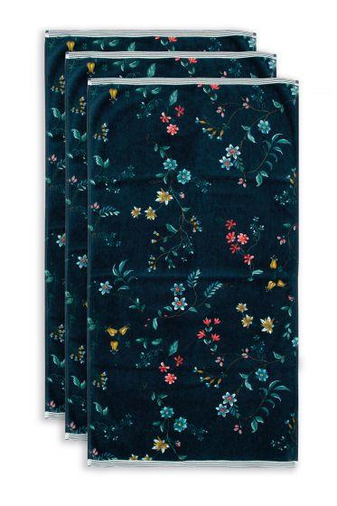 Handdoek-set/3-bloemen-print-donker-blauw-55x100-les-fleurs-katoen