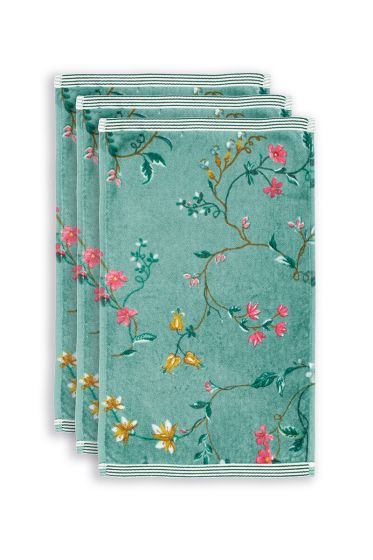 gasten-doekje-set/3-bloemen-print-groen-30x50-les-fleurs-katoen