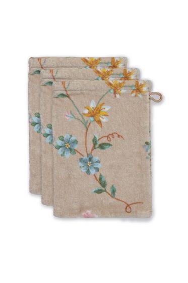 washandje-set/3-bloemen-print-khaki-16x22-cm-les-fleurs-katoen