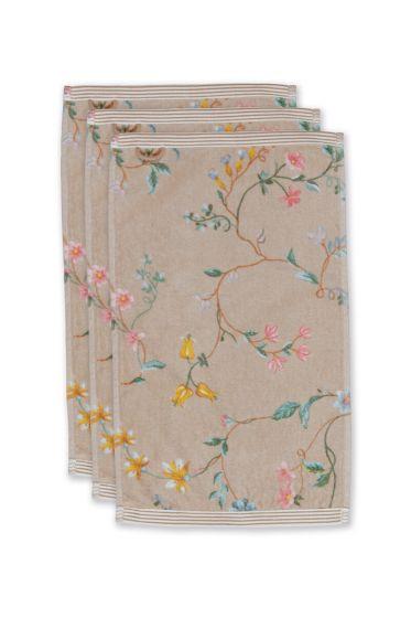 gastendoek-set/3-bloemen-print-khaki-30x50-cm-pip-studio-les-fleurs-katoen