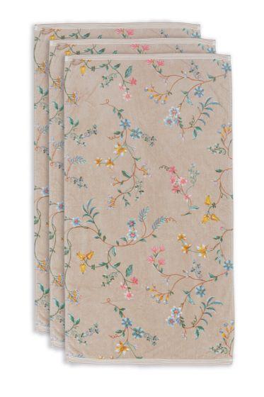 Handdoek-set/3-bloemen-print-khaki-55x100-les-fleurs-katoen