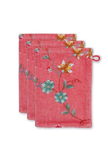 washandje-set/3-bloemen-print-roze-16x22-cm-les-fleurs-katoen