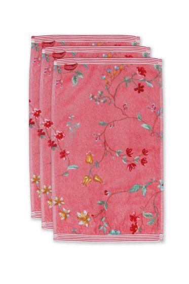 Guest-towel-set/3-floral-print-pink-30x50-cm-pip-studio-les-fleurs-cotton