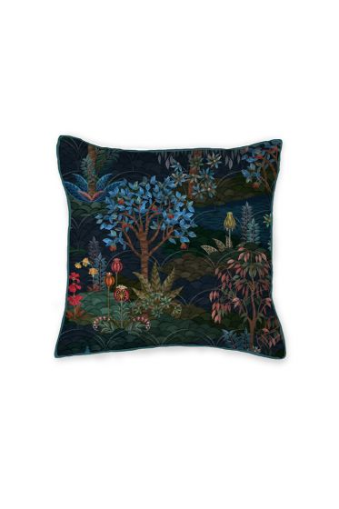 kussen-donker-blauw-bloemen-vierkant-gewatteerd-sierkussen-pip-garden-pip-studio-42x65-katoen