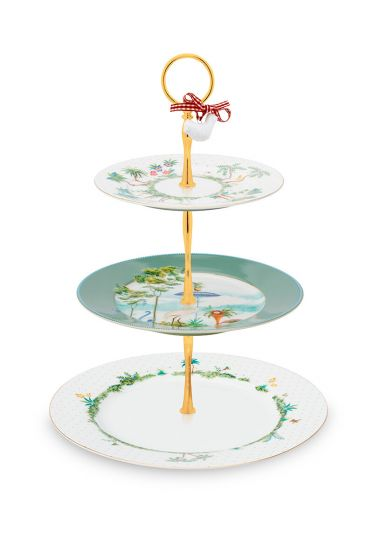 porcelain-cake-stand-3/layers-jolie-17-21-26.5-cm-1/6-pip-studio-green-white-flowers-51.018.107
