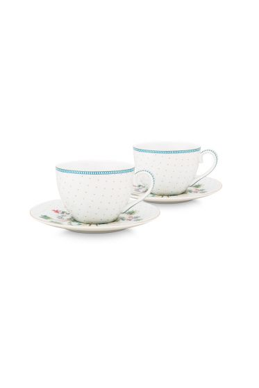 porcelain-set/2-espresso-cups-&-saucers-jolie-dots-gold-120-ml-1/24-white-blue-flowers-51.004.118