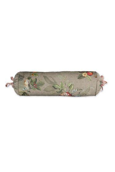 kussen-khaki-bloemen-rolkussen-sierkussen-fall-in-leave-pip-studio-22x70-katoen