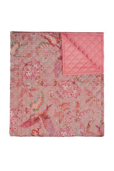 quilt-bettdecke-plaid-velvet-khaki-royal-birds 180x260-200x260-polyester