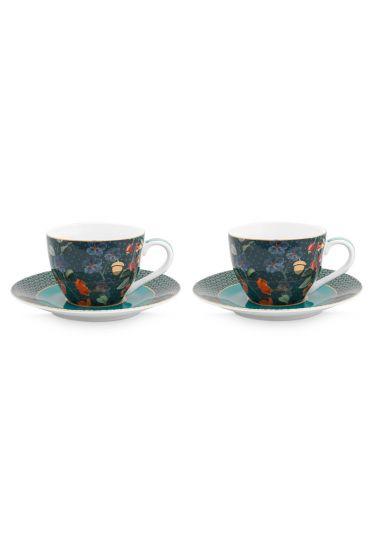 set-2-cappuccino-kop-en-schotel-winter-wonderland-van-porselein-met-bloemen- -in-donkerblauw
