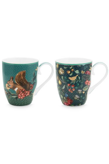 set-2-mugs-large-winter-wonderland-made-of-porcelain-with-a-squirrel -and-flowers-in-green
