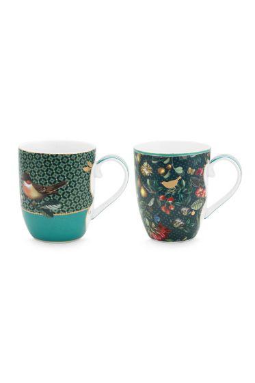 set-2-tassen-klein-winter-wonderland-gemacht-aus-porzellan-mit-einem-vogel-und-blumen-im-grün