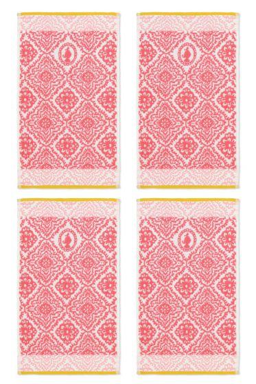 Gastendoek Set/4 Jacquard Check Donker Roze 30x50 cm