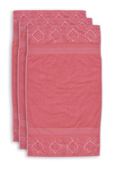 Handdoek-set/3-koraal-55x100-soft-zellige-katoen