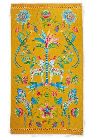 Strandlaken-geel-bloemen-100x180-curio-pip-studio-katoen-terry-velour