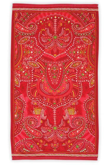 Strandlaken-rood-bloemen-100x180-sunrise-pip-studio-katoen-terry-velour