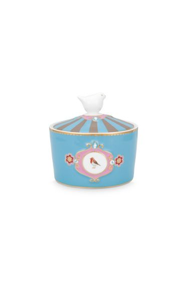 Love Birds Sugar Bowl Blue/Khaki