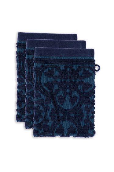 washandje-set/3-barok-print-donker-blauw-16x22-tile-de-pip-katoen