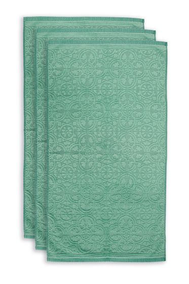 Towel-set/3-baroque-print-green-55x100-pip-studio-tile-de-pip-cotton