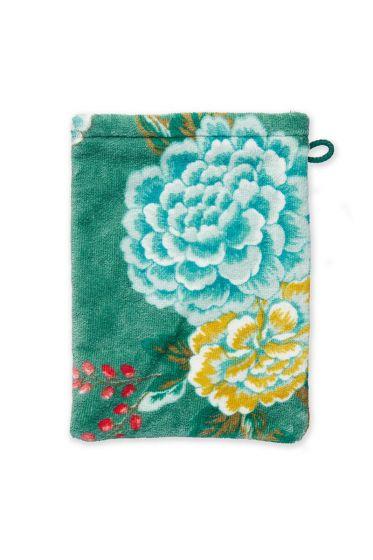 Washandje-groen-bloemen-16x22-soft-zellig-pip-studio-katoen-terry-velour
