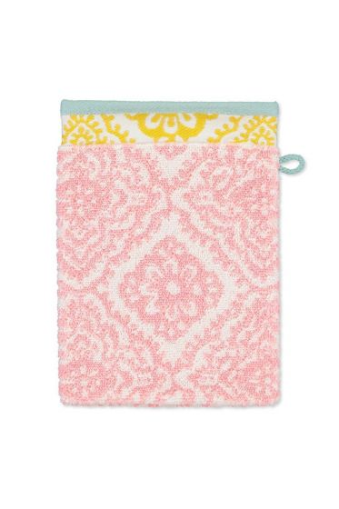 Washandje-roze-bloemen-16x22-jacquard-check-pip-studio-katoen-terry-velour
