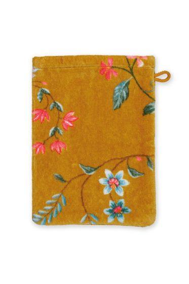 Washandje-geel-bloemen-16x22-les-fleurs-pip-studio-katoen-terry-velour