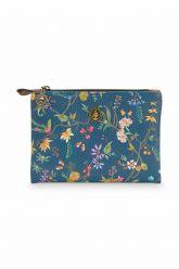 Cosmetic-flat-pouch-floral-dark-blue-small-star-tile-petites-fleurs-pip-studio-19,5x13x1-cm