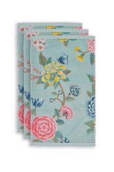 Guest-towel-set/3-floral-print-blue-30x50-cm-pip-studio-good-evening-cotton