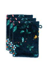 waschlappen-set/3-blumen-drucken-dunkel-blau-16x22-cm-les-fleurs-baumwolle