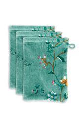 waschlappen-set/3-blumen-drucken-grün-16x22-les-fleurs-baumwolle
