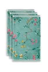 Gäste-tuche-set/3-blumen-drucken-grün-30x50-les-fleurs-baumwolle