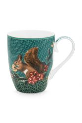 tasse-gross-winter-wonderland-gemacht-aus-porzellan-mit-einem- eichhörnchen -und-blumen-im-grün