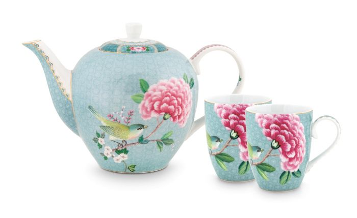 Blushing Birds Tea Set of 3 Blue