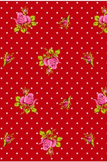 Roses and Dots wallpaper red