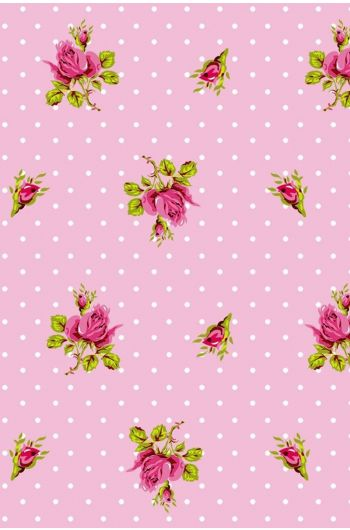 Roses and Dots wallpaper pink