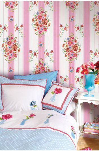 Embroidery wallpower roze
