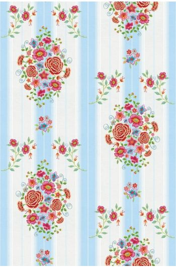 Embroidery Wallpower blau