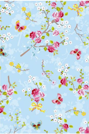 Chinese Rose wallpaper blue