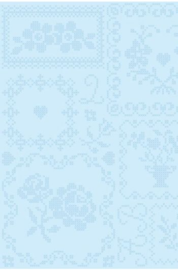 Cross Stitch behang wit blauw